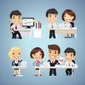 Managers Cartoon Characters at the Table Set Royalty Free Stock Photo