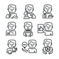 Managers and leaders skills outlined icons of man showing different every manager or leader needs Stock Photo