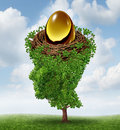 Managing your nest egg as a financial concept with a growing green tree in the shape of a human head supporting a nested Stock Images