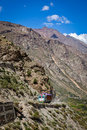 Manali leh road in indian himalayas with lorry himachal pradesh india Royalty Free Stock Image