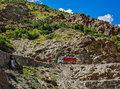 Manali leh road in indian himalayas with lorry himachal pradesh india Royalty Free Stock Images