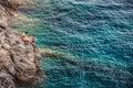 Manarola, Cinque Terre, Italie - jeune couple Photos stock