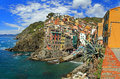 Manarola panorama colourful houses of one of five idyllic villages of the cinque terre Stock Photo