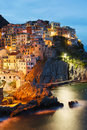 Manarola village italy by night Royalty Free Stock Images