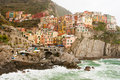 Manarola waterfront on a stormy day in the cinque terre italy Stock Photo