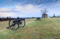 Manassas national battlefield park virginia landscape of henry hill house with historic canons from the civil war era in sudley at Stock Image