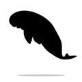 Manatee mammal sea black silhouette animal