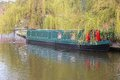 Manchester canal city in north west england uk narrowboat in castlefield district waterway area Stock Images