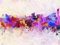 Manchester skyline in watercolor background artistic abstract Royalty Free Stock Photography