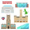 Manchester Travel Set with Architecture. Visit Great Britain