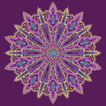 Mandala beautiful hand drawn flower violet background ethnic lace round ornamental pattern can be used to fabric design decorative Royalty Free Stock Photography