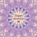 Mandala Birthday Card.  Vintage decorative elements. Hand drawn background. Islam, Arabic, Indian motifs. Royalty Free Stock Photo