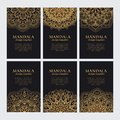 Mandala design template vector collection. Set of luxury golden decorative ornaments Royalty Free Stock Photo