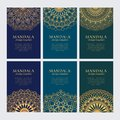 Set of luxury golden oriental ornaments, patterns and elements on dark blue backgroundsSet of luxury golden oriental ornaments on Royalty Free Stock Photo