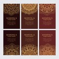 Set of luxury golden oriental ornaments on brown backgrounds Royalty Free Stock Photo