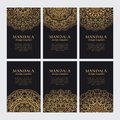 Mandala design template vector collection. Set of luxury golden oriental ornaments Royalty Free Stock Photo