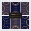 Set of luxury golden oriental ornaments, patterns and elements on dark blue backgrounds Royalty Free Stock Photo