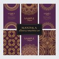 Set of luxury golden oriental ornaments, patterns and elements on purple backgrounds Royalty Free Stock Photo