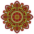 Mandala doodle drawing. Colorful floral round ornament Royalty Free Stock Photo