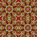 Mandala doodle drawing. Colorful floral seamless ornament Royalty Free Stock Photo