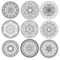Mandala floral mandalas set coloring book outline pattern weave design element Stock Photo