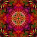 MANDALA FLOWER ART DECO WITH FOUR PETALS FLOWER IN THE CENTER, COLOR FUCHSIA, PURPLE, OLIVE AND RED IN THE BACKGROUND