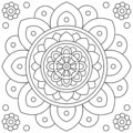 Mandala. Flower. Coloring page. Black and white vector illustration.