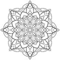 Mandala Flower outline Vintage Oriental pattern, wedding, yoga