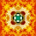 MANDALA FLOWER VINTAGE, WITH A CENTER FLOWER IN GOLD. DARK GREEN CROSS IN THE CENTER, WITH A SQUARE IN WHITE. PETALS IN RED