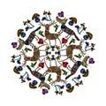 Mandala with funny animals.