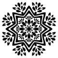Black and white mandala vector isolated on white.Oriental, swirl.