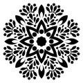 Black and white Floral mandala for coloring Mandala. Handmade, card.