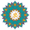 Mandala. Isolated Ethnic round ornament with om symbol. Vector