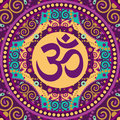 Mandala ohm vector indian spiritual sign Stock Photography