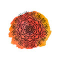 Mandala on the orange watercolor stain. Vector ornament, round decorative element for your design