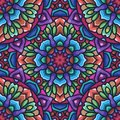 Mandala seamless pattern with rounded floral ethnic mandala ornament. Tribal pattern background