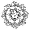 Mandala tattoo. Fairytale style sun with a human face surrounded by curly ornate clouds. Decorative element for coloring