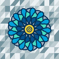 Mandala with text on blue background vector in the center geomery image Royalty Free Stock Photography