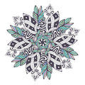 Mandala vector in floral style. Zentangle for coloring book pages. Ornament pattern for henna tattoo design Royalty Free Stock Photo