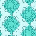 Mandalas seamless pattern in green color combiantion .