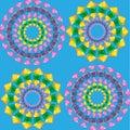 Mandalas pattern seamless on blue