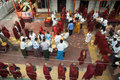 Mandalay, Myanmar,Burmese Monks at a procession Royalty Free Stock Photos