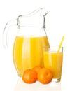Mandarin juice jug glass of fresh and fruits on white background Royalty Free Stock Photo