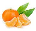 Mandarin with leaves close-up. Royalty Free Stock Photo