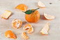 Mandarin orange and the peel Royalty Free Stock Images