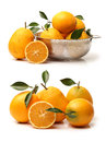 Mandarin oranges close up of isolated over white background Royalty Free Stock Images