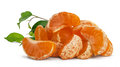 Mandarin segments a pile of ripe juicy isolated on white Royalty Free Stock Photos