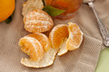 Mandarin segments scattered of a with the pith and skin Royalty Free Stock Image