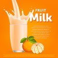 Mandarin sweet milkshake dessert cocktail glass fresh drink in cartoon vector illustration Stock Image