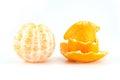 Mandarin or tangerine with peel on white background Royalty Free Stock Photos